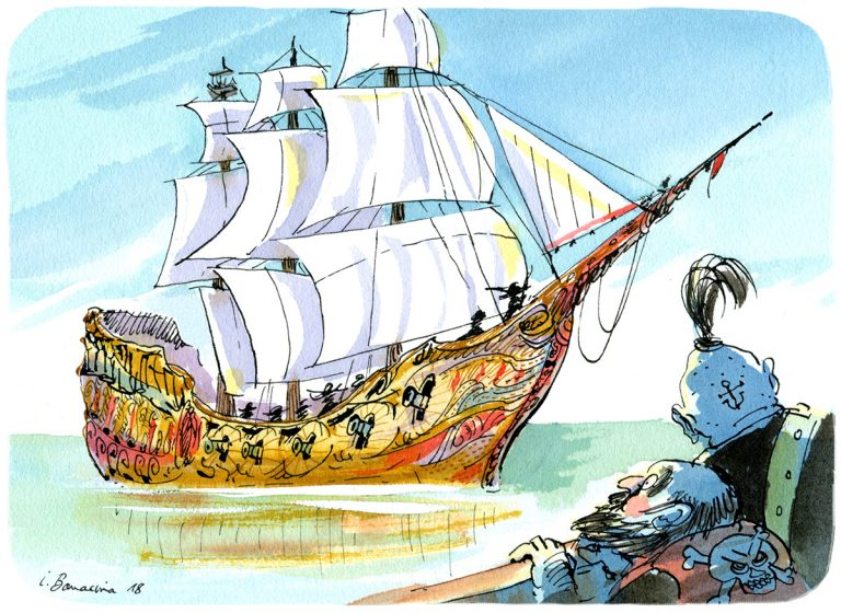 """Histoire de pirates, """"Piratouille Le capitaine qui avait les pétouilles"""", illustration d'Irène Bonacina pour l'application Plume"""