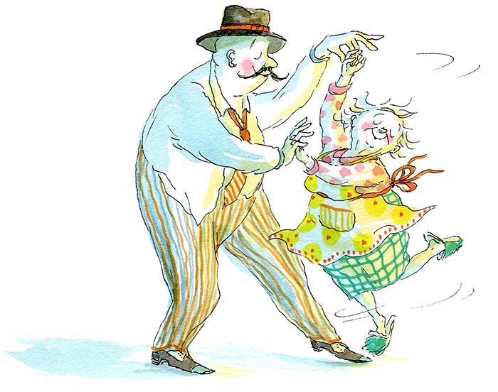 """Monsieur Igor et la Petite Vieille, illustration d'Irène Bonacina pour """"Cinq minutes & des sablés"""" de Stéphane Servant, éditions Didier Jeunesse 2015"""