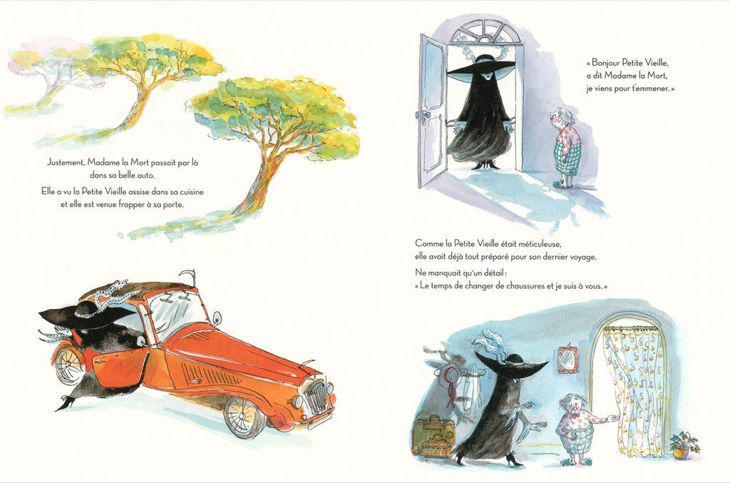 Madame la Mort et la Petite Vieille, illustration d'Irène Bonacina pour