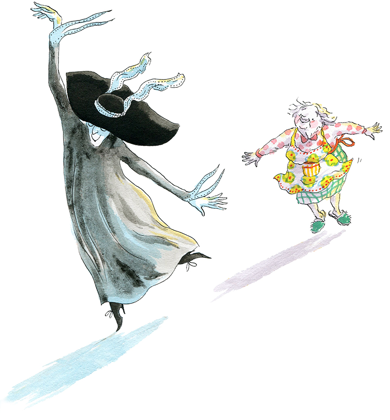"""Madame la Mort et la Petite Vieille, illustration d'Irène Bonacina pour """"Cinq minutes & des sablés"""" de Stéphane Servant, éditions Didier Jeunesse 2015"""