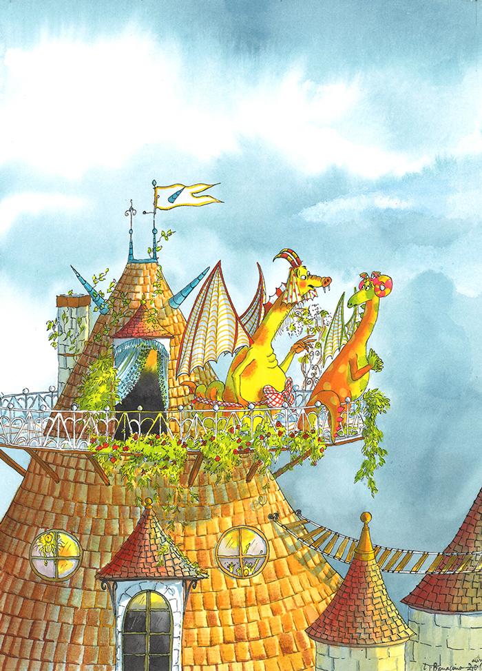 """Illustration d'Irène Bonacina à l'encre pour l'album """"Un Amour de Dragon"""" de Claire Ubac, édité par Albin Michel Jeunesse, 2016, histoire d'amour entre une belle dragonne et un dragon péteur"""