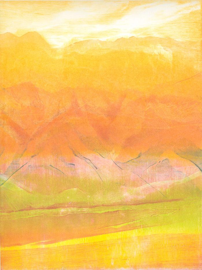 """""""Impressions de la traversée"""", série de monotypes d'Irène Bonacina lors de sa résidence d'artiste à l'Institut Français d'Oujda, Maroc, 2013"""