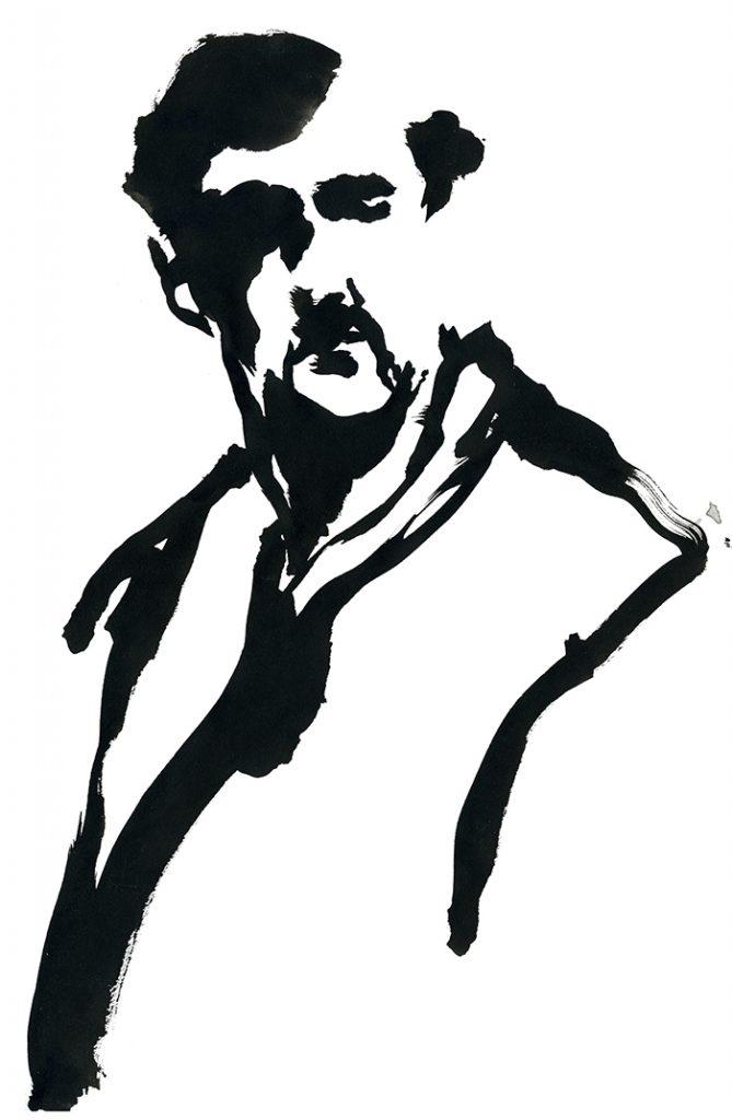 Portrait par Irène Bonacina, encre de Chine et pinceau, pour