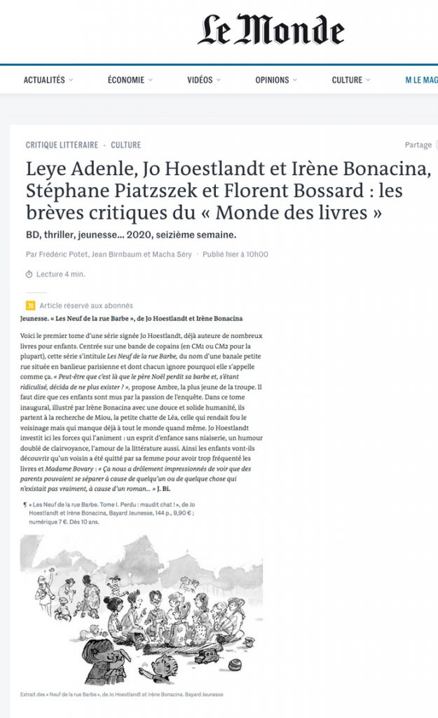 """Le roman jeunesse """"Les neuf de la Rue Barbe"""" écrit par Jo Hoestlandt et illustré par Irène Bonacina paru chez Bayard, dans la sélection du Monde des Livres juin 2020"""